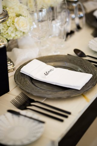 charger-plate-intricate-design-name-card-black-silverware-white-table-rhode-island-wedding-reception