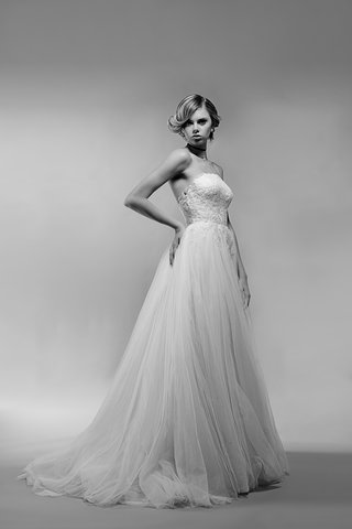 black-and-white-photo-of-aurelie-wedding-dress-by-ivy-aster-stapless-lace-bodice-and-tulle-skirt