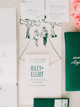 wedding-invitation-suite-modern-invite-with-drawing-of-couple-walking-green-emerald-calligraphy