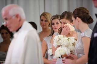 bridesmaid-in-ralph-lauren-silver-bridesmaid-dress-crying-during-ceremony