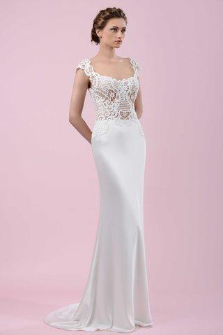 gemy-maalouf-2016-silk-skirt-with-scoop-neck-lace-bodice-wedding-dress