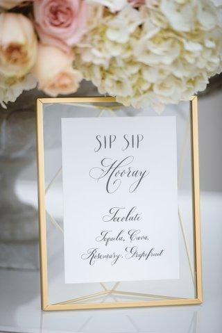 white-menu-calligraphy-sip-sip-hooray-wedding-ideas-calligraphy-gold-mirror-translucent-mat