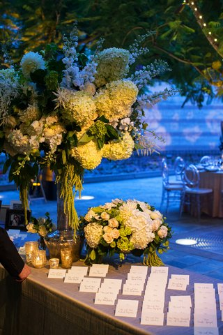 wedding-reception-white-hydrangea-greenery-flowers-escort-card-table-ghost-chairs-candle-votives