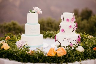 two-wedding-cakes-simple-wedding-cake-floral-wedding-cake