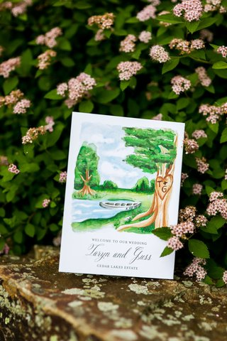 wedding-ceremony-program-welcome-to-our-wedding-sign-watercolor-painting-of-venue-estate-lake-boat
