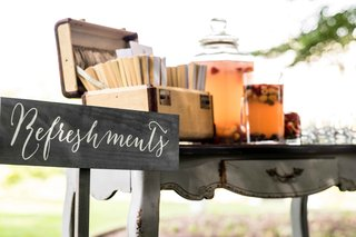 vintage-inspired-refreshment-table-with-calligraphy-sign-and-antique-luggage-and-table
