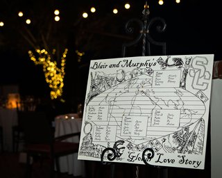 wedding-at-night-sign-with-sketches-drawings-of-globe-world-with-travels-of-couple-and-where-met