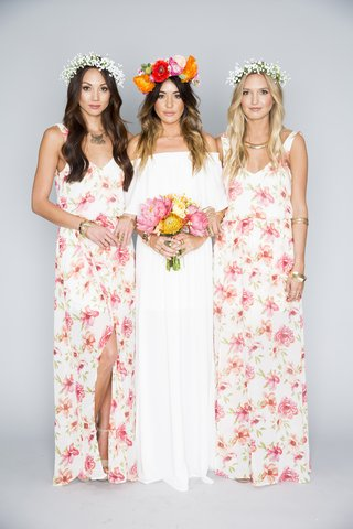 bridesmaid-dresses-in-pink-and-peach-floral-design