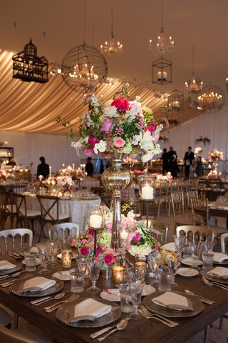 peonies-roses-hydrangeas-tall-centerpiece-romantic-candles-tablescape