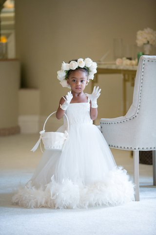 flower-girl-with-feathered-hem-floral-crown-of-roses-white-gloves