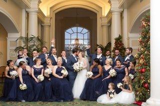 wintry-bridal-party-newlyweds-north-carolina-wedding-bouquets-catholic-ceremony-christmas-love
