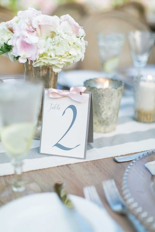 table-number-in-grey-letters-tied-with-pink-ribbon