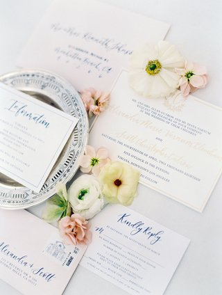 wedding-invitation-suite-gold-and-royal-blue-calligraphy-vibiana-venue-stamp-information-reply-cards