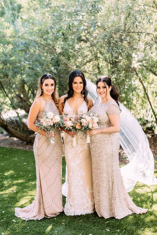 bride-in-calla-blanche-wedding-dress-bridesmaids-in-adrianna-papell-bridesmaid-dresses-sequin-beads