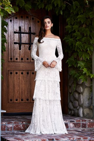 tadashi-shoji-fall-2018-knit-lace-off-the-shoulder-tiered-gown-with-long-bell-sleeves