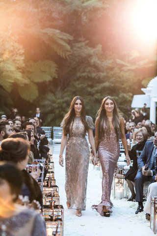 wedding-outdoor-bel-air-gold-lanterns-on-white-aisle-runner-bridesmaids-in-mismatched-metallic-gowns