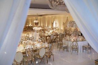 wedding-reception-gold-details-white-pink-mirror-reception-tables-dance-floor-white-drapery