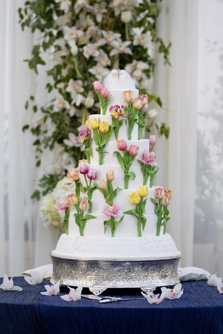 sugar-flower-cake-with-colorful-tulips-and-bird-topper