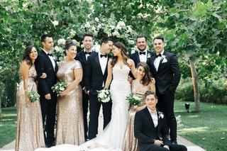 jillian-murray-in-berta-wedding-dress-dean-geyer-with-bridesmaids-in-gold-sequin-dresses-groomsmen