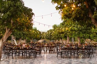 dark-wood-tables-and-chairs-with-trees-bistro-lights-courtyard-wedding-reception