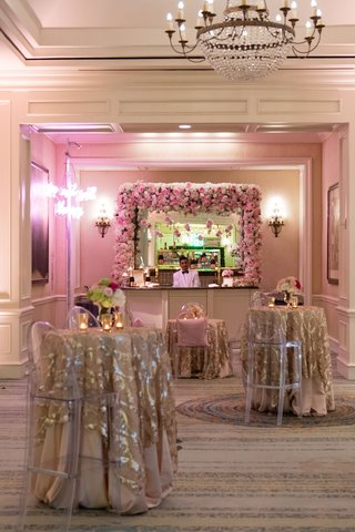 hers-drink-station-neon-sign-rose-bar-champagne-gold-linens-ghost-bar-stools-bartender