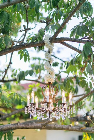 chandelier-hanging-from-tree-at-wedding-reception-with-white-flower-garland-wrapped-around-cord
