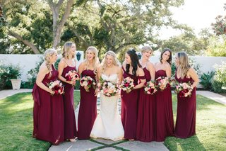 bridesmaids-in-jenny-yoo-burgundy-dresses-pregnant-bridesmaid-bride-in-oscar-de-la-renta