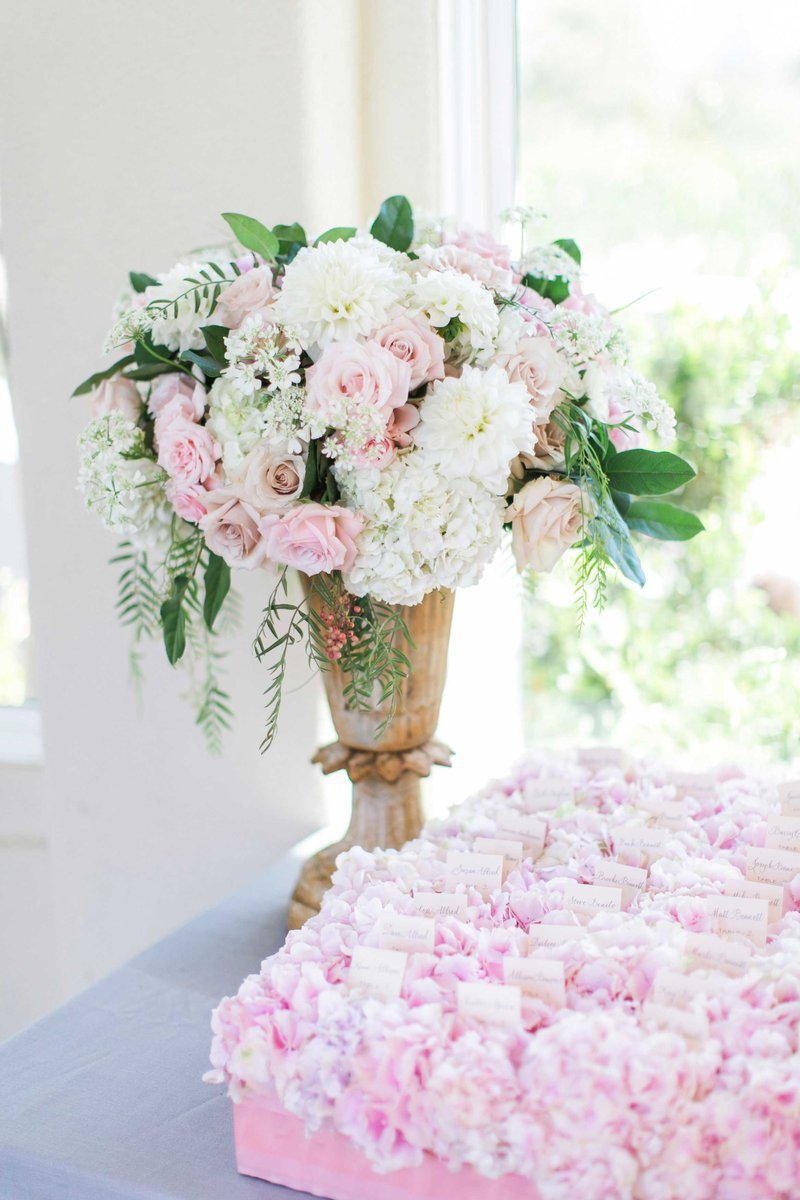 Pink & White Flower Arrangement at Escort Card Table