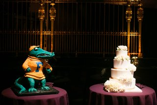 brides-cake-with-white-frosting-and-flowers-and-florida-gators-grooms-cake-albert-the-alligator