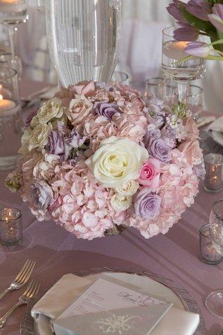 wedding-centerpiece-purple-flower-pink-rose-white-rose-pink-hydrangea-spring-wedding-ideas