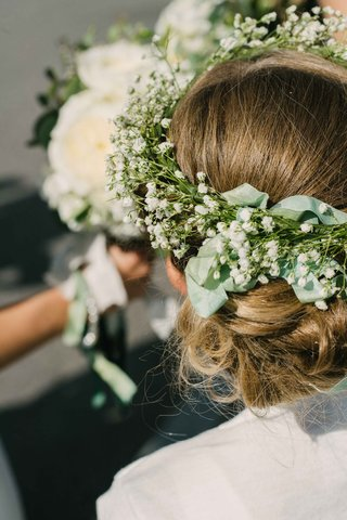 flower-girl-crown-of-foliage-flower-crown-babys-breath-ribbon-greenery-hair-style-rustic-boho-chic