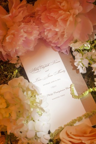 wedding-ceremony-program-with-pink-peony-flower
