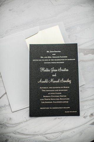 black-wedding-invitations-with-texture-gold-lettering-grey-envelope