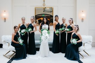 bridesmaids-in-black-halter-hayley-paige-bridesmaid-dresses-bride-in-maggie-sottero-wedding-dress
