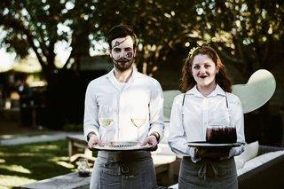 halloween-wedding-reception-servers-in-halloween-costume-makeup-holding-trays