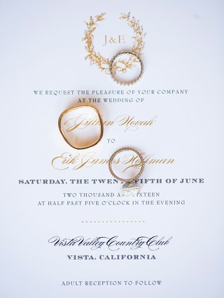 wedding-invitation-with-gold-laurel-wreath-monogram-and-gold-calligraphy-adult-reception-to-follow