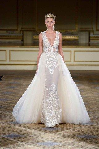 berta-fall-winter-2016-filigree-lace-sleeveless-wedding-dress-with-overskirt