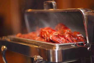 rehearsal-dinner-silver-buffet-tray-with-lobster-claws