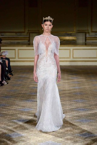 berta-fall-winter-2016-plunging-neckline-wedding-dress-with-sheer-capelet