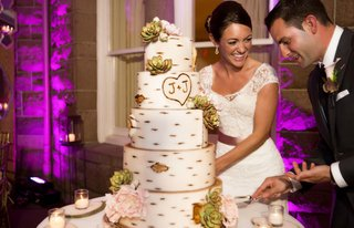wedding-cake-made-to-look-like-a-birch-tree-with-the-couples-initials-and-sugar-flowers-and-succulen