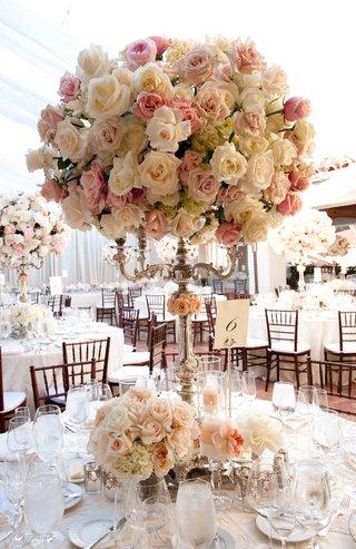 rose-hydrangea-dahlia-garden-rose-candelabra-centerpiece