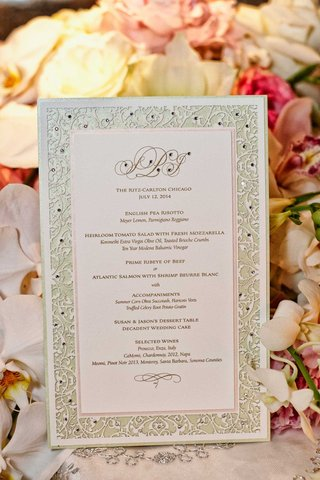 wedding-reception-menu-with-laser-cut-border-sprinkled-with-rhinestones-couples-monogram