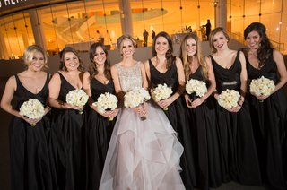 hayley-paige-bride-with-girls-in-black-dresses