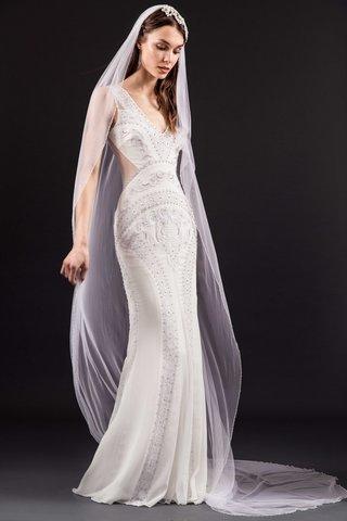 temperley-london-bridal-summer-2017-georgiana-wedding-dress-v-neck-sheer-cutouts-embroidery-veil