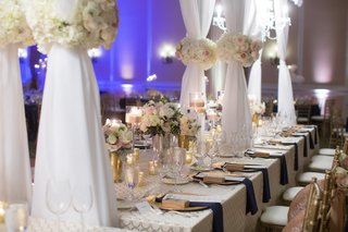 long-table-white-detailed-linen-sheer-structure-north-carolina-wedding-head-table-navy-gold
