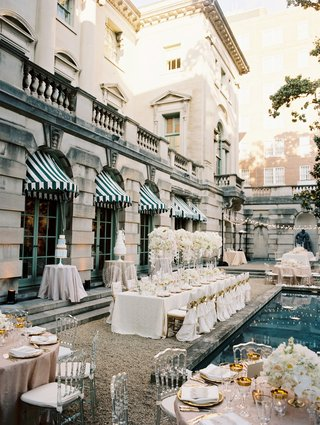 wedding-reception-at-anderson-house-in-washington-dc-around-pool-white-long-table-pink-round-table