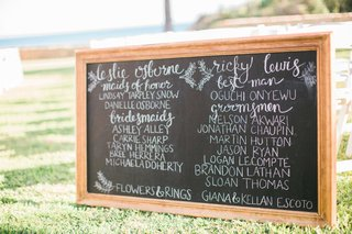 black-chalkboard-at-ceremony-with-white-calligraphy-chalk-all-bridal-party-names