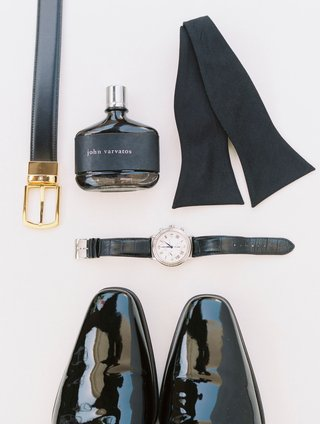 grooms-patent-leather-dress-shoes-watch-bow-tie-john-varvatos-cologne-perfrume-and-black-belt
