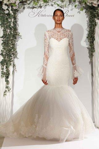 katerina-bocci-2017-bridal-collection-siena-lace-mermaid-wedding-dress-long-sheer-bell-sleeves-lace