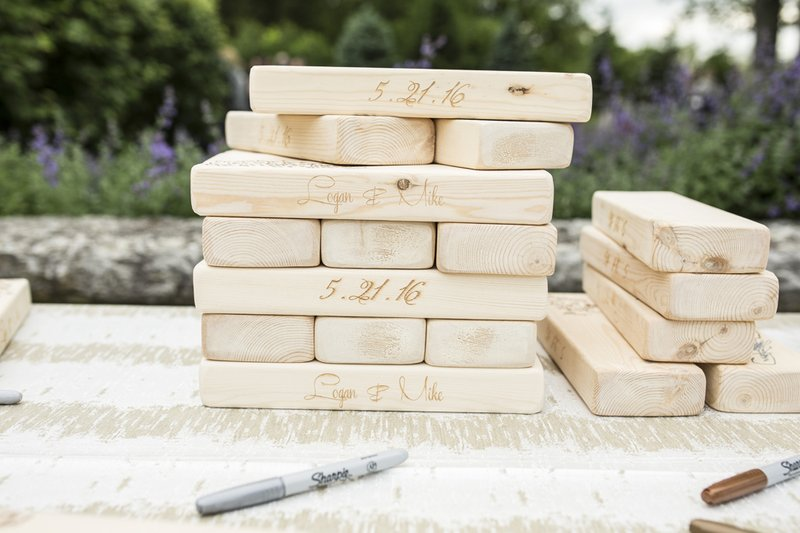 wedding guest book alternative jenga blocks with wedding date